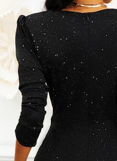 Einfarbig Figurbetont 3/4 Ärmel Puffärmel Mini Kleine Schwarze Party Elegant Modekleider