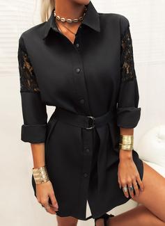 Lace Solid Sheath Long Sleeves Mini Little Black Casual Shirt Dresses