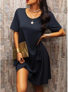 Solid Shiftklänningar Korta ärmar Midi Fritids Tunika Modeklänningar