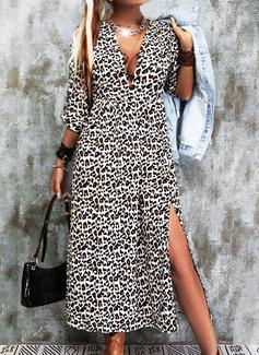 Leopard Kjole med A-linje Lange ærmer Midi Casual skater Mode kjoler