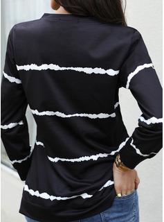 Trykk Rund hals Lange ermer Avslappet T skjorte
