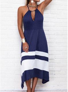 Trozos de color raya Vestido línea A Sin mangas Asimétrico Casual Patinador Tipo Vestidos de moda