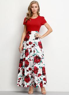 Maxi Cuello redondo mezcla de algodón Manga corta Impresión/Floral Vestidos de moda