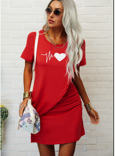 Impresión Cubierta Manga Corta Mini Casual camiseta Vestidos de moda