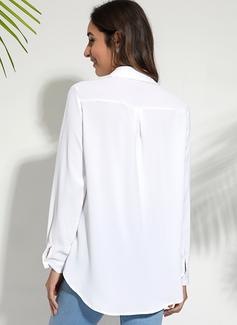Jednolity Długie rękawy Mieszanki bawełniane Poliester Litera V Koszula Bluzki Bluzki