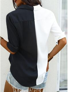 leopardo Patchwork Risvolto Maniche lunghe Bottone Casuale Shirt and Blouses