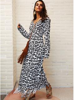 Leopardo Vestidos sueltos Manga Larga Midi Casual Túnica Vestidos de moda