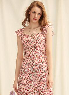 A-Linien-Kleid Rechteckiger Ausschnitt Chiffon Chiffon Modekleider