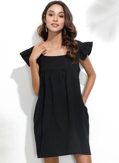 Over Knee Square Neck Polyester Solid Korte ærmer Mode kjoler