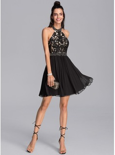 A-Line Halter Short/Mini Chiffon Cocktail Dress With Beading Sequins Pleated