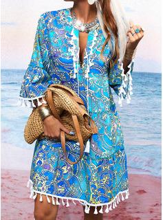 Print Skiftekjoler 3/4 ærmer Mini Boho Casual Ferie Tunika Mode kjoler