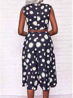 Blomster Print Kjole med A-linje Ærmeløs Midi Casual skater Wrap Mode kjoler