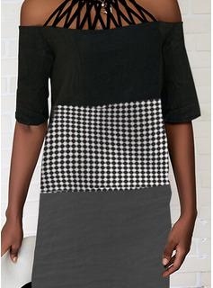 Color Block Plaid Shift 1/2 Sleeves Midi Casual Tunic Dresses