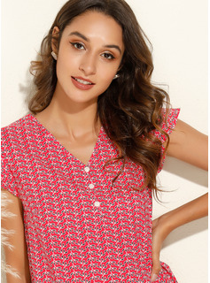 Drucken Flügelärmel Polyester V-Ausschnitt T-shirt Blusen