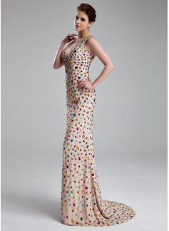 Sheath/Column V-neck Sweep Train Chiffon Prom Dresses With Beading
