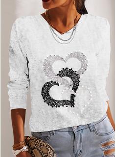 Print Hjerte V-hals Lange ærmer Casual T-shirt