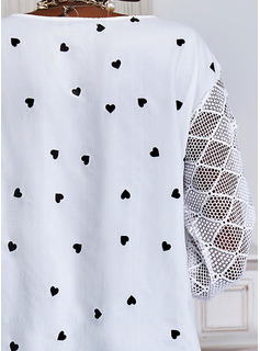 Impresión Corazón Cuello en V Mangas 3/4 Casual Blusas