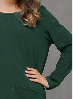 Solid Skiftekjoler Lange ærmer Midi Mini Casual Tunika Mode kjoler