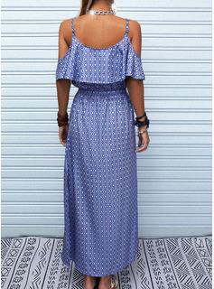 Print Kjole med A-linje Korte ærmer Maxi Casual skater Mode kjoler