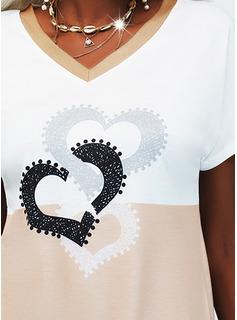 Trozos de color Impresión Corazón Vestidos sueltos Manga Corta Midi Casual camiseta Vestidos de moda