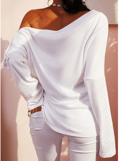 Solid One Shoulder Long Sleeves Button Up Casual Blouses