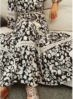 Floral Renda Estampado Vestido linha-A Manga Comprida Maxi férias Skatista Vestidos na Moda