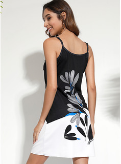 フローラル 印刷 シフトドレス ノースリーブ ミニ カジュアル 休暇 タイプ ファッションドレス