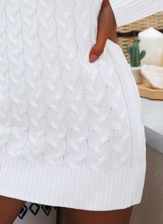 Vネック カジュアル 長い 固体 ケーブル編み チャンキー・ニット セーター