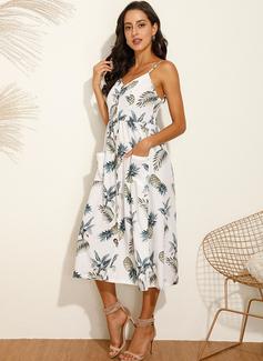 Print Kjole med A-linje Ærmeløs Midi Casual Ferie skater Typen Mode kjoler