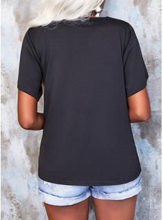 Lace Solid V-Neck Short Sleeves Elegant Blouses