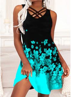 Color Block Floral Print Shift Sleeveless Midi Casual Vacation Dresses