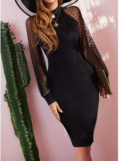 Black High Neck Long Sleeves Midi Dresses