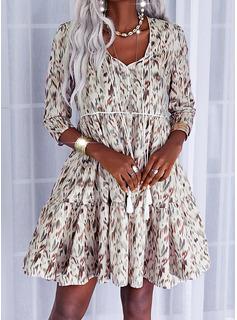 Print Shift 1/2 Sleeves Midi Casual Tunic Dresses