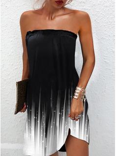 Print Gradient Shift Sleeveless Mini Casual Dresses