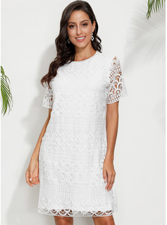 Above Knee Round Neck Polyester Lace/Solid Short Sleeves Fashion Dresses