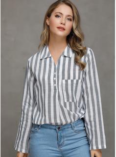 Mangas 3/4 Algodón Lino Solapa Camisas Blusas Blusas