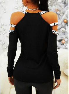 Leopard Patchwork Cold Shoulder Long Sleeves Casual Blouses