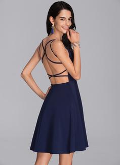 A-Line V-neck Short/Mini Stretch Crepe Homecoming Dress