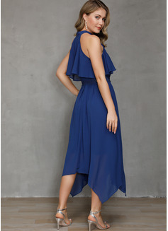 Blonder Solid Kjole med A-linje Kold-skulder ærmer Asymmetrisk Den lille sorte Party skater Mode kjoler