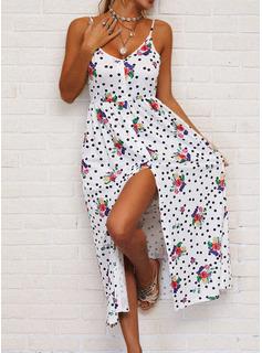 Floral Lunares Impresión Vestido línea A Sin mangas Maxi Casual Vacaciones Patinador Tipo Vestidos de moda