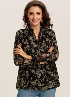Print Blomster Lange ærmer Polyester Lapel Shirt Skjorter Bluser