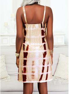 Impresión Vestido línea A Sin mangas Mini Casual Vacaciones Patinador Tipo Vestidos de moda
