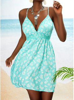 Floral Lace Print Backless A-line Sleeveless Mini Casual Vacation Skater Type Dresses