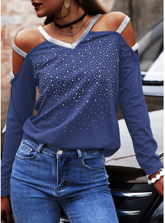 Sequins Solid Cold Shoulder Long Sleeves Casual Sexy Blouses