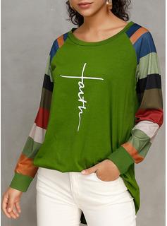 Color Block Print Rund hals Lange ærmer Casual T-shirt