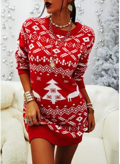 Print Long Sleeves Casual Christmas Dresses
