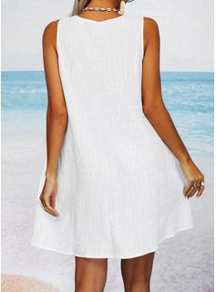 Koronka Jednolity Suknie shift Bez Rękawów Mini Nieformalny Wakacyjna Modne Suknie