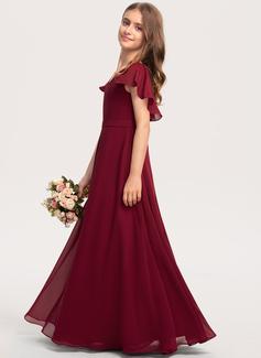 A-linjainen V-kaula-aukko Lattiaa hipova pituus Sifonki Nuorten morsiusneito mekko jossa Laskeutuva röyhelö