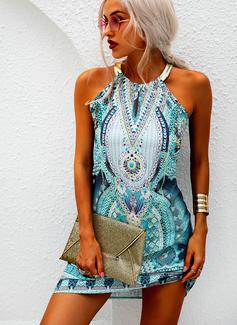 Imprimeu Shift Elbiseleri Kolsuz Mini gündelik Tatil Întreg Moda Elbiseler