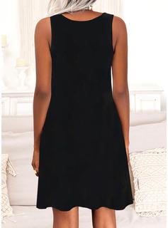 Print Letter Shift Sleeveless Mini Casual Vacation Dresses